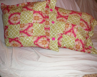 Pair of scrappy decorative pillows