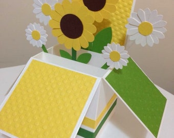 Handmade Sunflower Happy Birthday Card in a box, 3D sunflower Card, Bright Card