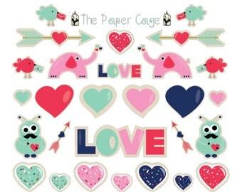 Valentines Day Cookie Monsters Love Birds Elephants Calendar / Planner Stickers