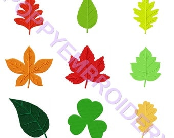 LEAVES  Design for Embroidery machine  /  feuille  motifs pour broderie machine / instant download