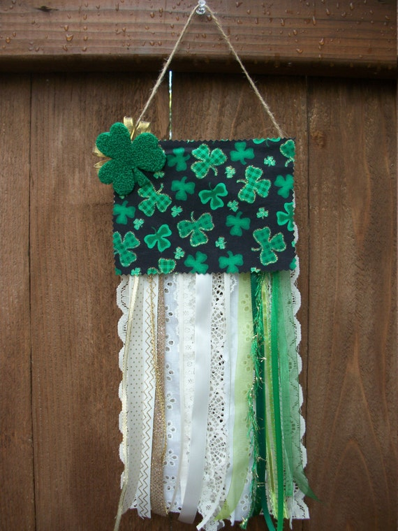 Wall Decorations With Ribbon : St patrick s day door decor wall ribbon flag