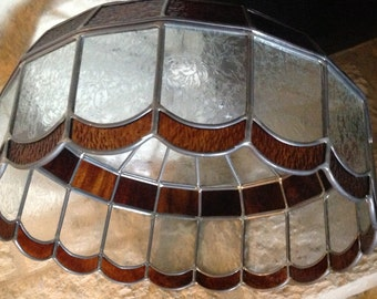 Stained Glass,Vintage Lamp Shade, Brown and Clear Glass