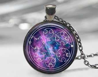 Doctor Who Necklace, Don't Blink, Blink and You're Dead, Written in Gallifreyan, Typography Pendant