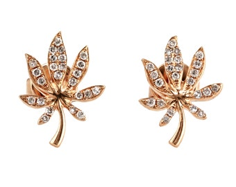 0.13ct Round Pavé Diamonds in 14K Rose Gold Cannabis Leaf Stud Earrings - CUSTOM MADE