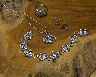 Comedy tragedy masks. Caught now, cry later. Pendant, earrings, ring, bracelet. Sterling silver