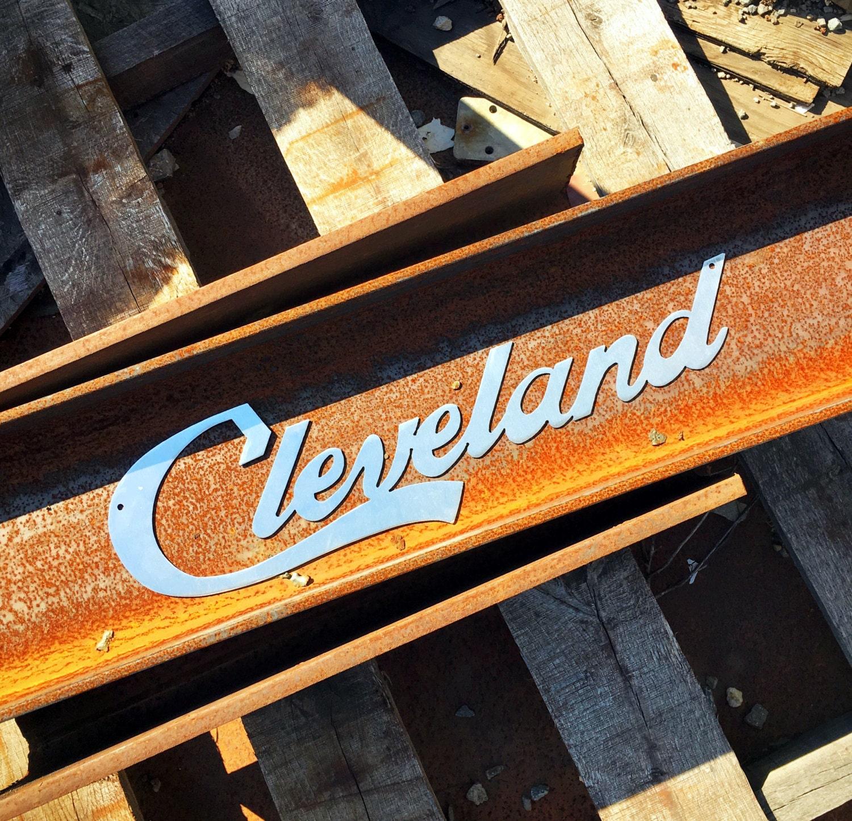 Cleveland Script Metal Wall Art