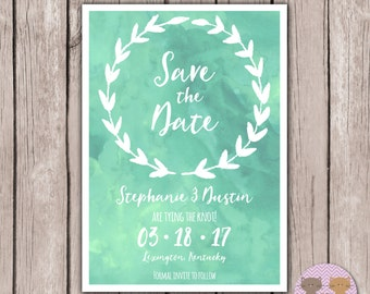 PRINTABLE- Watercolor Save the Date Card- 5x7 JPG