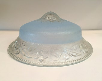 Art Deco Frosted Blue Glass Ceiling Light Shade Cover 1920s 1930s