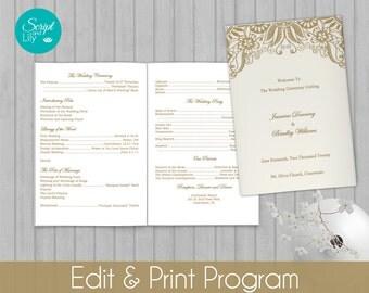 printable folded catholic wedding program editable text diy vintage lace gold ivory