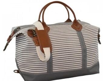 Monogrammed Weekender Bag- Canvas Weekender-Monogrammed Striped Weekender/Personalized Weekender Bag