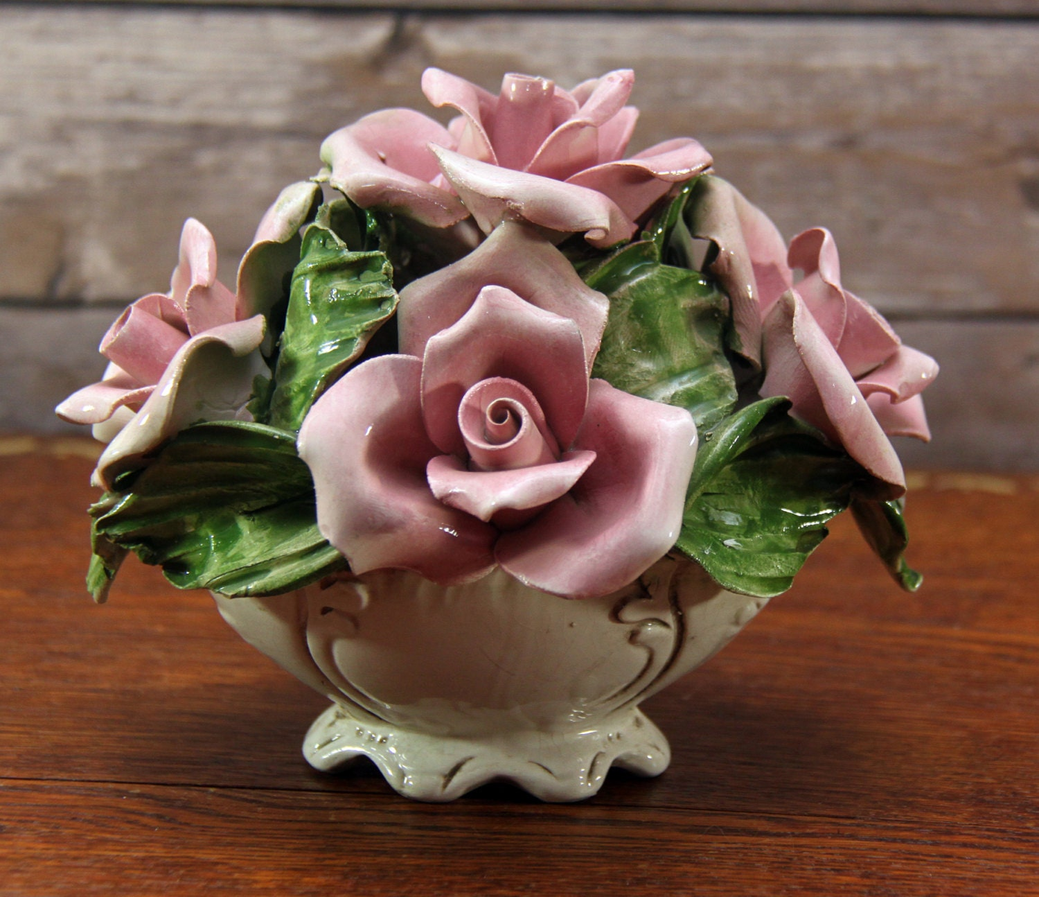 Capodimonte Pink Roses Small Centerpiece Footed Basket Vase