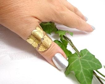 Celtic oak ring, golden leaf ring, leaf adjustable ring, elvish golden ring, thumb golden ring, golden oak ring, druid ring.