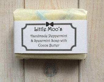 Handmade Spearmint and Peppermint Soap with Cocoa Butter