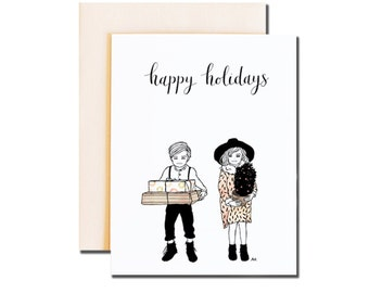 Boy and Girl Holiday Card. Fashionable Holiday card. Print of my Original illustration with Ink and watercolor.