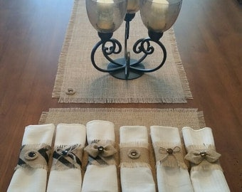 Burlap Shabby Chic Napkin Rings w/Button or Bow Accent (Set of 8, 10 or 12)