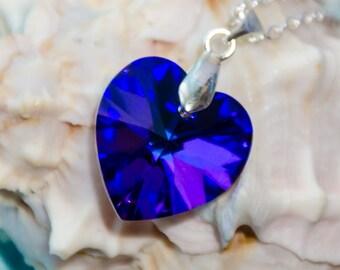 Purple Swarovski heart necklace sterling silver purple heart necklace Swarovski heliotrope heart crystal Swarovski set Christmas gift