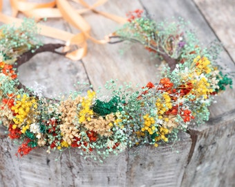 Dried Baby's Breath Crown, Colorful Baby's Breath, Flower girl