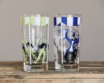 Circus Tumblers   Set of Two   Green and Blue   Clear Water Drinking Glasses   Patio   Summer   Beverage   Tea   Lemonade   Iced Tea   Glass