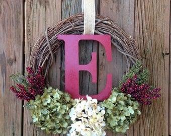 Christmas Monogram Wreath, Holiday Wreath, Holiday Decor, Christmas Door Hanger, Holiday Decor, Holiday Monogram Wreath, Berry Wreath