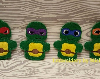 Ninja Turtle Puppet, Turtle Puppet, Turtle Finger Puppet, Finger Puppets, Felt Puppet, Imaginative Play, Puppet, Child Play, Ninja Turtle