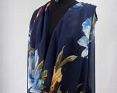 silk chiffon print fabric large floral print navy blue background kaftan kimono evening 140cm wide Italy