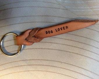 Dog keychain, dog lovers,Custom key chains, small keyfobs with names, leather braided key fobs, braided leather keyholder, names on keyfob