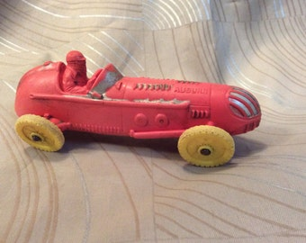 Vintage rubber race car, early 1950's Auborn rubber red toy race car, rubber Indy Racer race car grand #536, made in USA, some pieces off