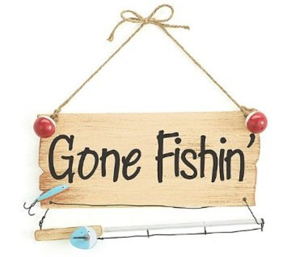 Gone Fishing Signs Decor: Wall Hanging Gone Fishing Sign Gift Accessory