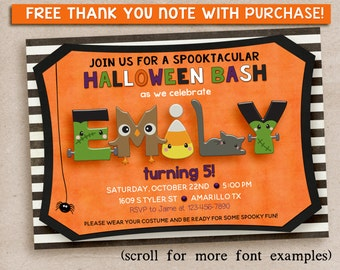 Halloween Birthday party invitation kids, kids halloween birthday party invitation