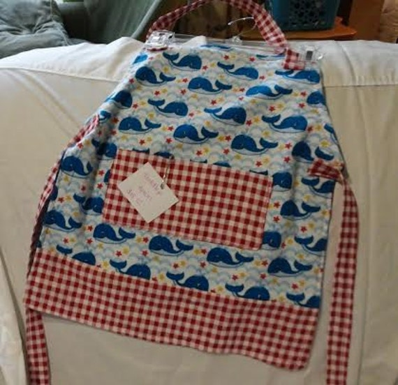 Toddler Reversible Nautical Whale Apron with pockets