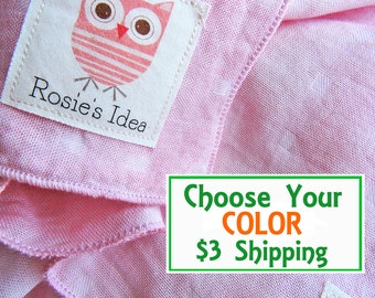 OWL Bamboo Swaddle Blanket for Boys & Girls, Choose Your COLOR Swaddle Muslin with Organic Cotton Label, Summer Swaddle Blanket for Toddlers
