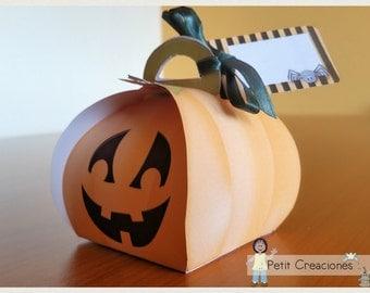 "PRINTABLE Curvy keepsake gift BOX ""Halloween Pumpkin"" DIY (digital template)"