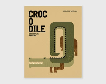 CROCODILE, Wildlife of Australia, Nursery Wall Art, Animal Print, Kids Prints, Animal Nursery Prints, Australian Nursery Animal