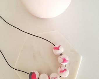 Handmade Polymer clay beaded necklace- pink, white and grey marble