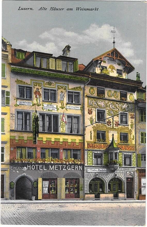 luzern alte hauser am weinmarkt switzerland antique ca