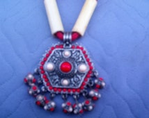 Aztec Necklace Wooden Bead Handmade with Fire Red Paracord Hand Painted Cane Reed Aztec Sun Moon Clock Pattern 17.5 Inches Connected