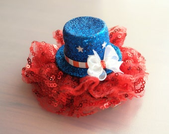 Fourth of July Red, White & Blue Glitter Sequined Hat with lace hair Clip