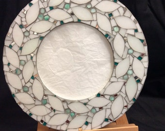 Mosaic mirror frame. 'Snow White Wreath' Picture frame. Stained glass mosaics.