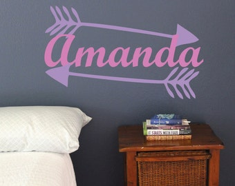 Arrows With Name, Cupid Love wall decal, bedroom Living room stickers, Tribe, Valentines Day Decor