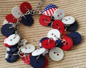 Patriotic Button Bracelet