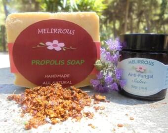 Set of Propolis Soap and Antifungal Salve. All Natural , Organic Ingredients. Gift Set
