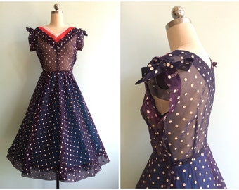 Vintage 1940's Cream Polka Dot Sheer Dress | Size Small
