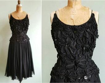 Vintage 1960s Black Silk Sequin Party Dress   Size Medium