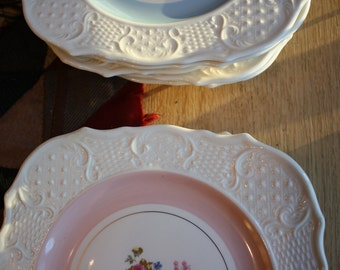 Washington Colonial luncheon plates, set of nine plates, blue and pink bands, floral bouquet, raised relief border