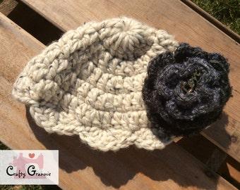 Girl's Crochet Hat w/Flower