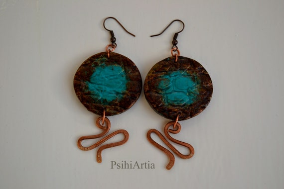 Turquoise earrings dangle Polymer clay earrings Copper earrings Summer turqoise earrings Polymer clay dangle Polymer clay jewelry Summer jew