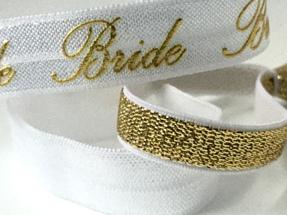 White and Gold Bride Hair Tie Set