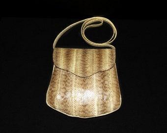 Vintage snakeskin crossbody, 1980s snakeskin, snakeskin bag, 1980s purse, W.A. Thompson, vintage snakeskin bag, beige snakeskin