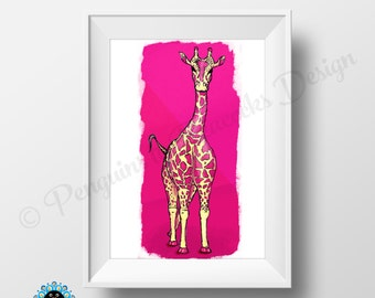Pink Giraffe - A4 pen and ink illustration, scanned and digitally coloured print.