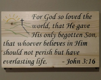 Bible Scripture Plaque John 3:16 in Color - For God so loved the world that he gave his only begotton Son - scripture - wall decor